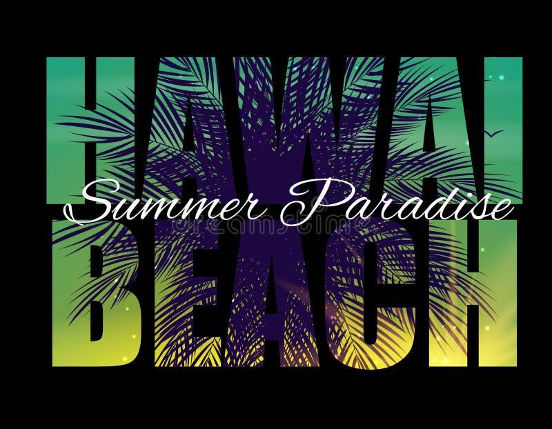 Hawai plaży lata raju Abstrakcjonistyczny Palmowy tło r?wnie? zwr?ci? corel ilustracji wektora ilustracja wektor