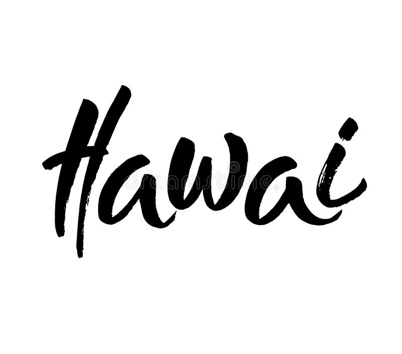 Hawai, tekstontwerp Typografieaffiche Bruikbaar als achtergrond Moderne borstelkalligrafie Inkthand het van letters voorzien Vect stock illustratie