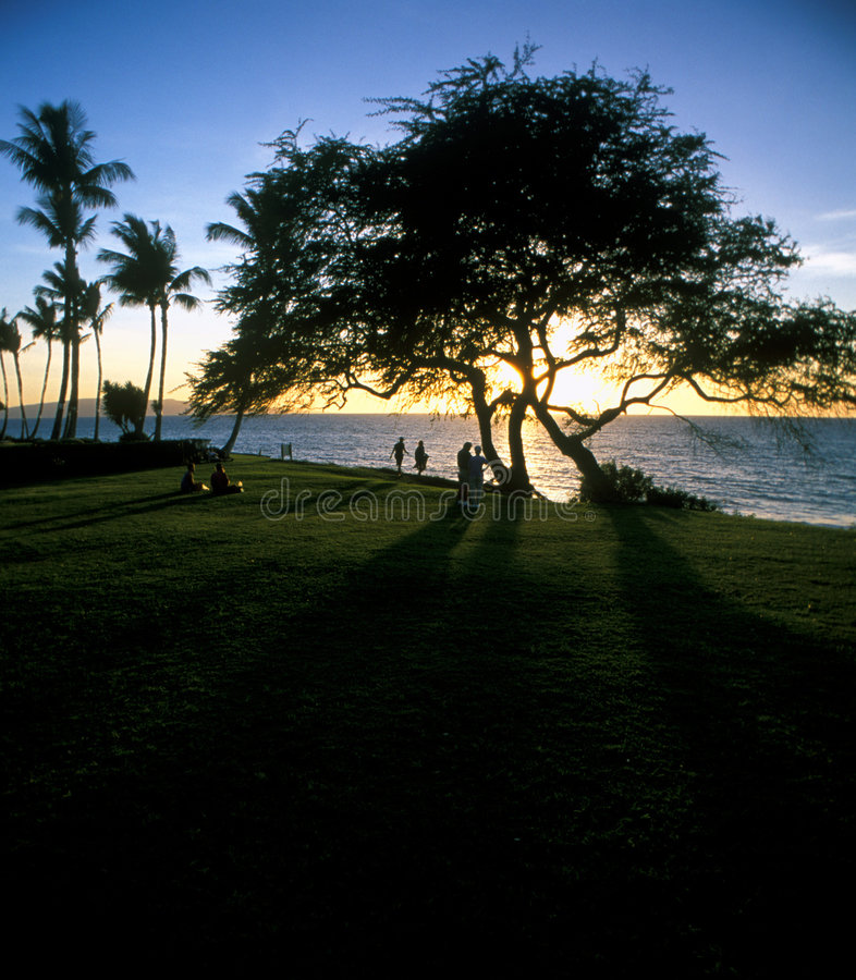 hawaian ηλιοβασίλεμα παραλιών στοκ φωτογραφία με δικαίωμα ελεύθερης χρήσης
