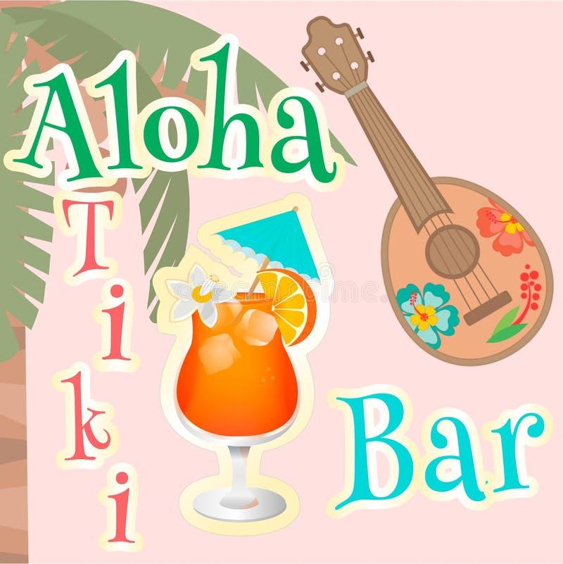 Hawaiana hawaiana de la barra del cartel stock de ilustración