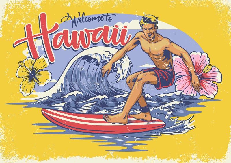 Hawaiano benvenuto che pratica il surfing illustrazione di stock