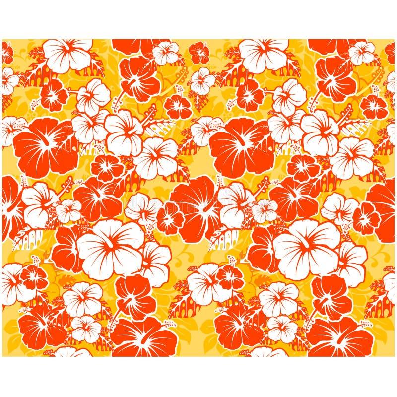 Hawaiansk bakgrund med hibiskusblommor stock illustrationer