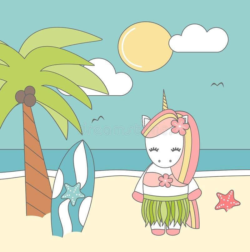 Hawaiansk enhörning för gullig älskvärd tecknad film på den roliga vektorillustrationen för strand royaltyfri illustrationer