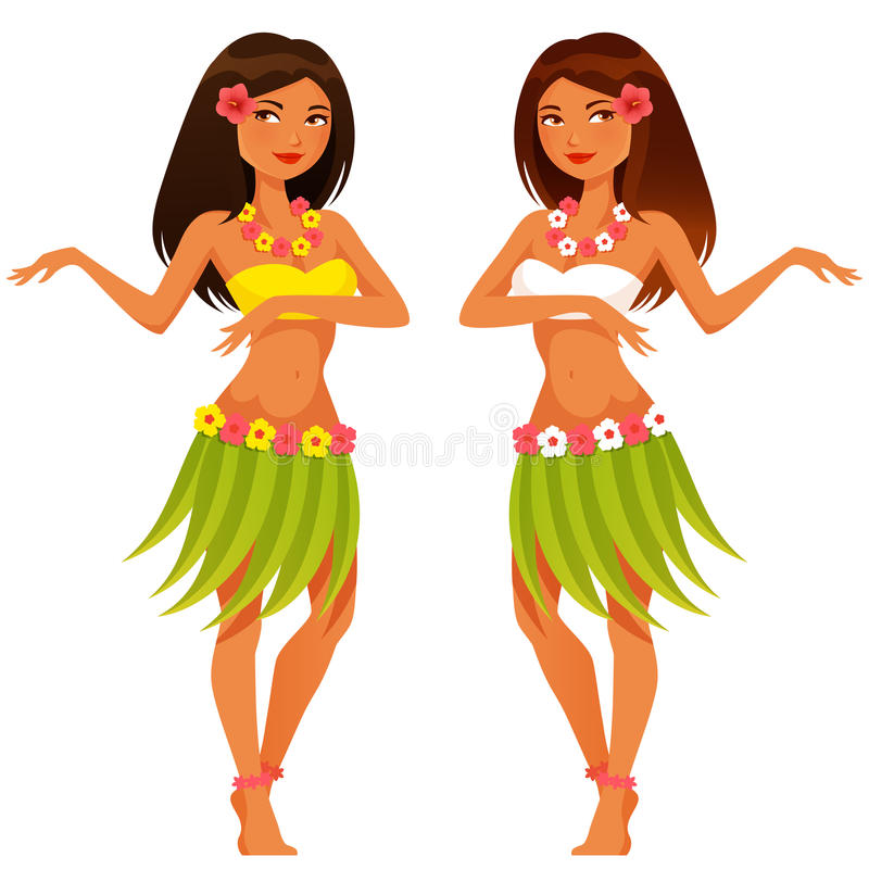 Hawaiansk flickadans i traditionell dräkt royaltyfri illustrationer