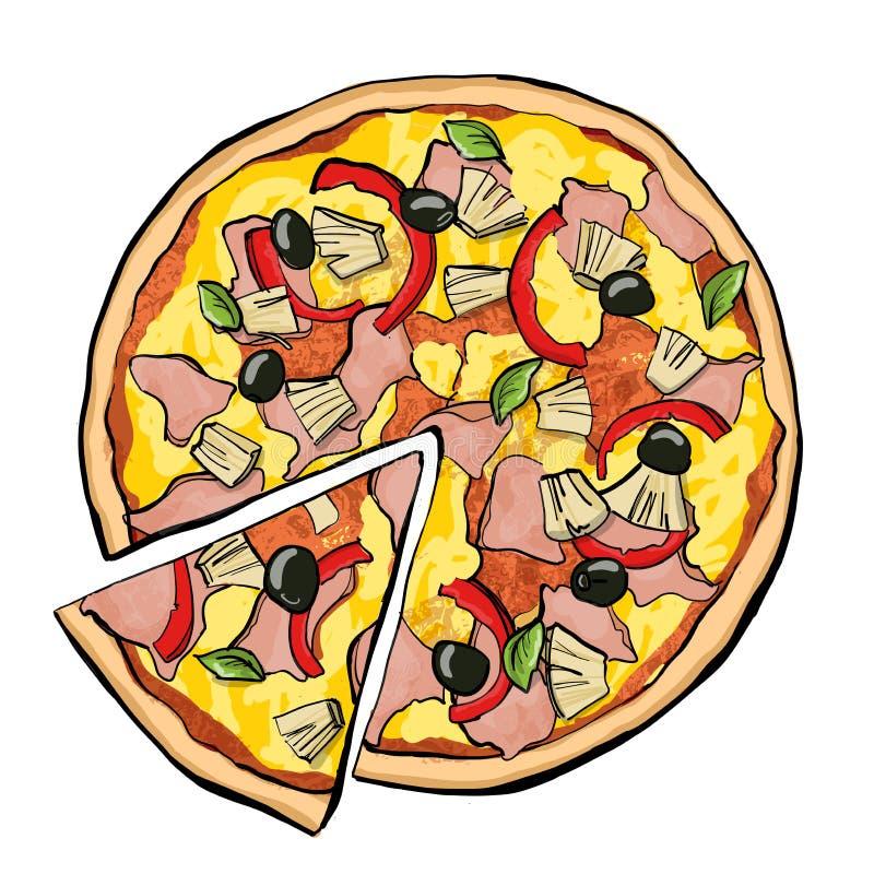 Hawaiansk pizza med skivan vektor illustrationer