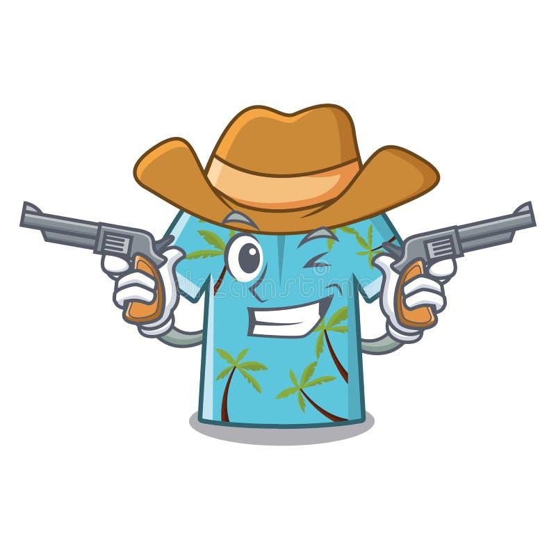 Hawaiansk skjorta för cowboy i maskotformen stock illustrationer