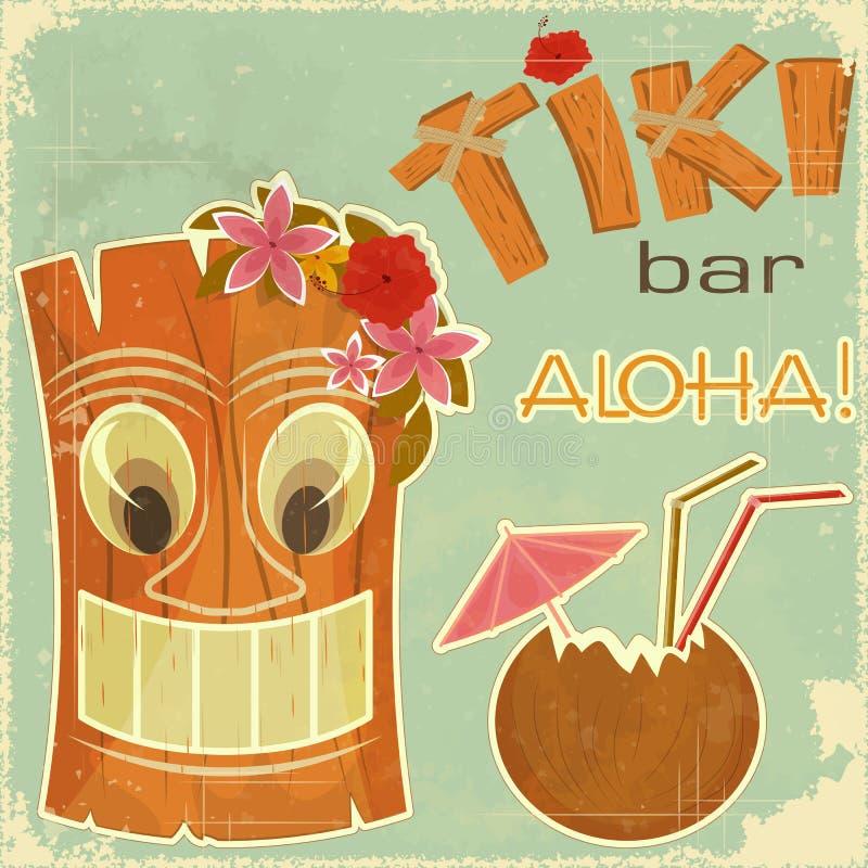 hawaiansk vykorttappning royaltyfri illustrationer