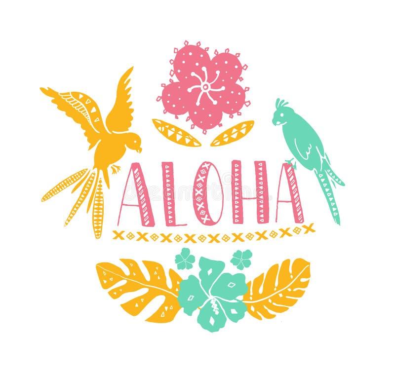 Hawaianska designbeståndsdelar Aloha ord med traditionella modeller, tropiska sidor och blommor, två papegojor Vektorsommar royaltyfri illustrationer