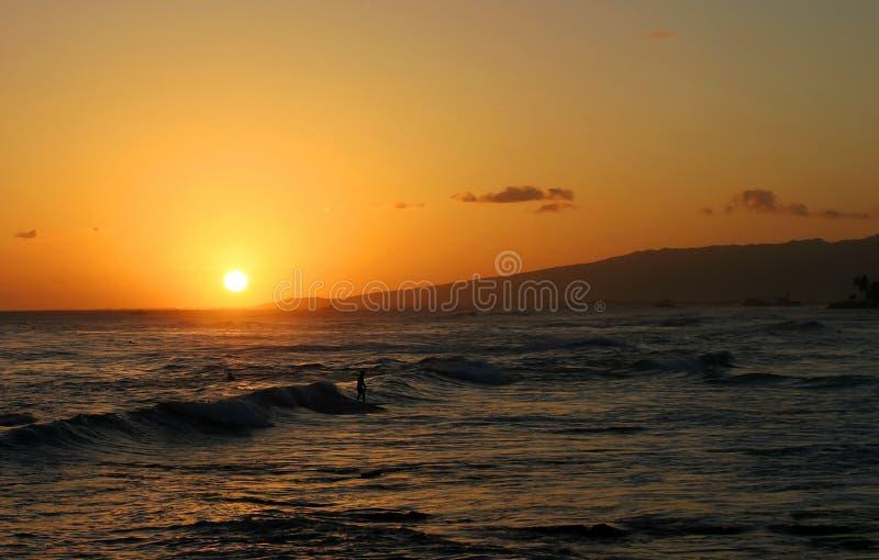 hawaianskt surfa för solnedgångsurfare arkivbilder