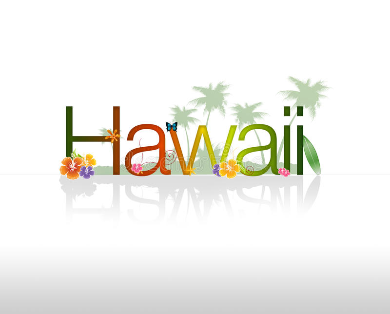 Hawaii. HIgh resolution Hawaii graphic with tropical elements