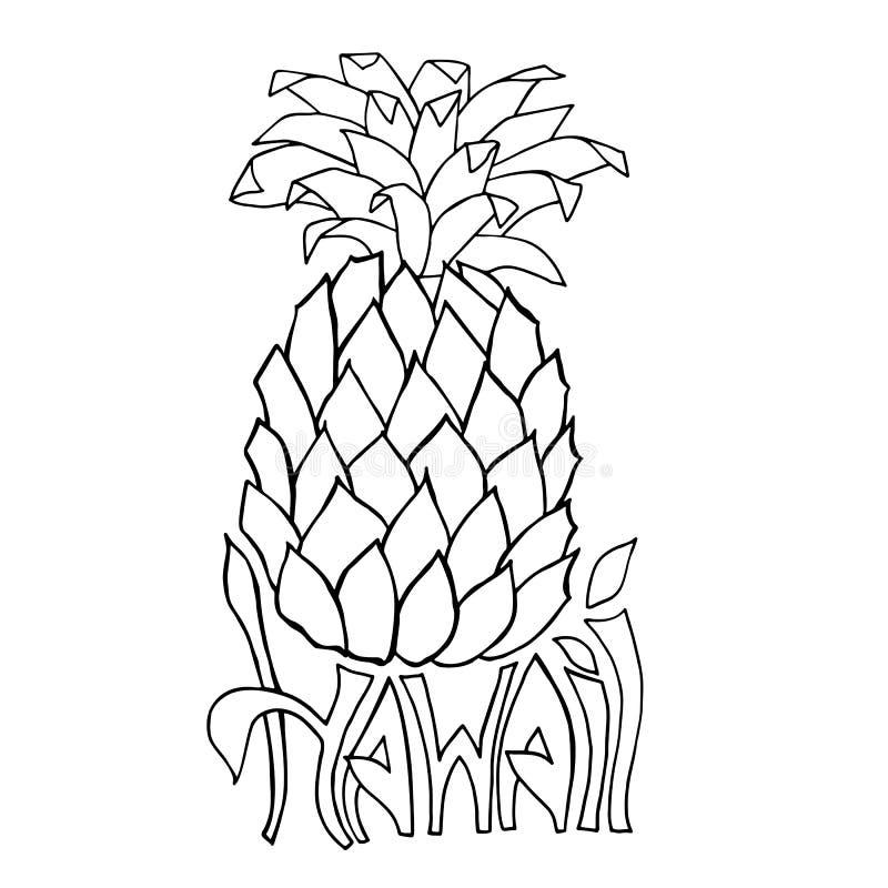 hawaii Bandera de la tipografía Ejemplo del bosquejo de la piña Cartel de la hawaiana Letras del vector ilustración del vector