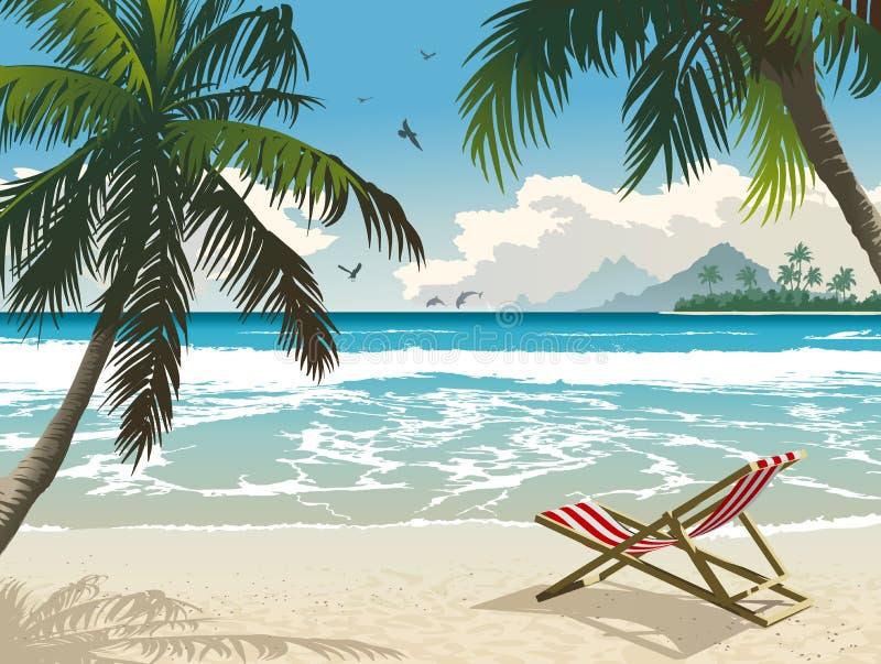 Hawaii beach. Vector illustration of the tropical beach