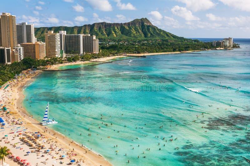 Hawaii beach Honolulu city travel landscape of Waikiki beach and Diamond Head mountain peak at sunset, Oahu island vacation. Hawaii beach Honolulu city travel stock images