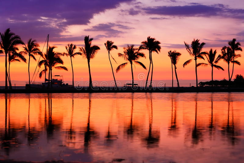 Hawaii beach sunset - tropical paradise landscape royalty free stock photos