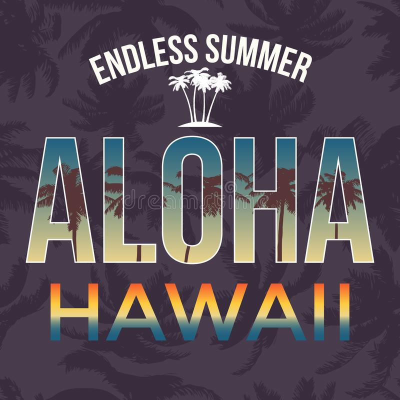 Hawaii beach tee print with palm tree. T-shirt design graphics stamp label typography. Vector. Illustration vector illustration