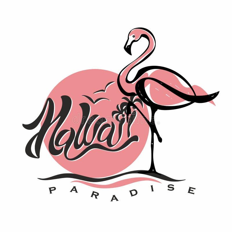 hawaii bokstäver flamingo Solnedgång logo Resor semester Välkommet kort Turismbransch vektor royaltyfri illustrationer