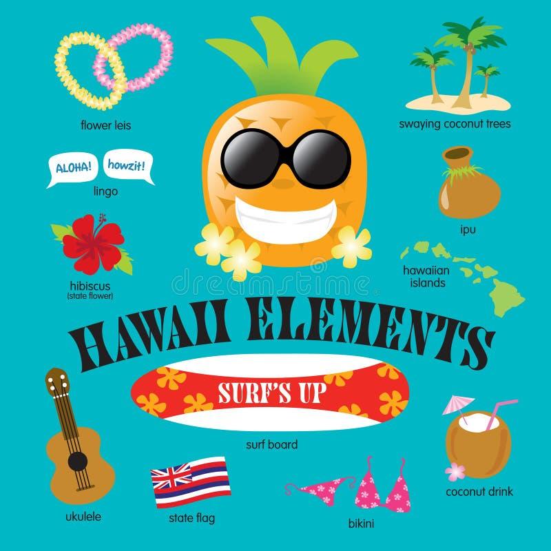 Download Hawaii-Element-vektorset vektor abbildung. Illustration von kunst - 9083170