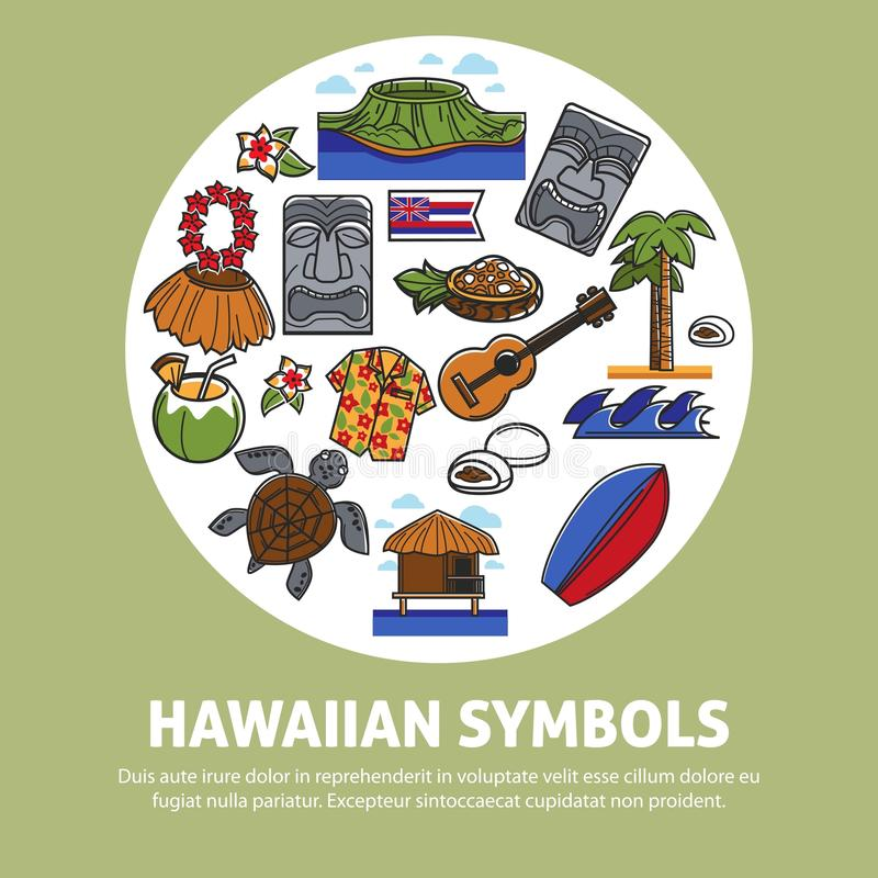 Hawaii famous sightseeing symbols and culture landmarks icons for Hawaiian travel travel poster. Hawaii travel poster of Hawaiian famous symbols or tourist stock illustration