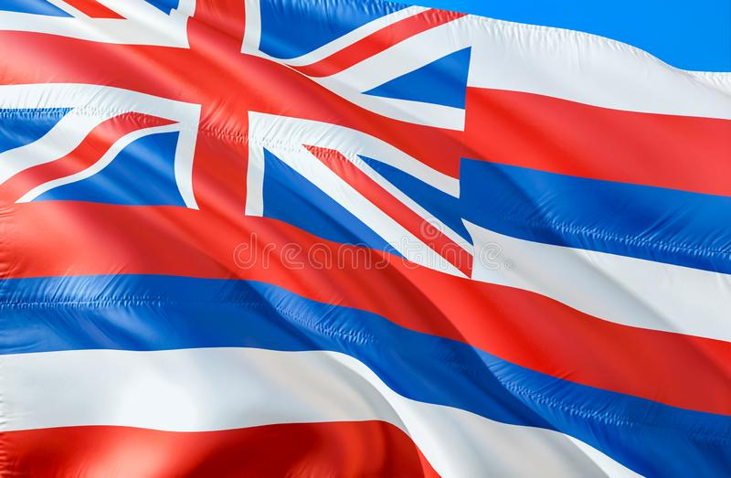 Hawaii flag. 3D Waving USA state flag design. The national US symbol of Hawaii state, 3D rendering. National colors and National. Flag of Hawaii for a stock image