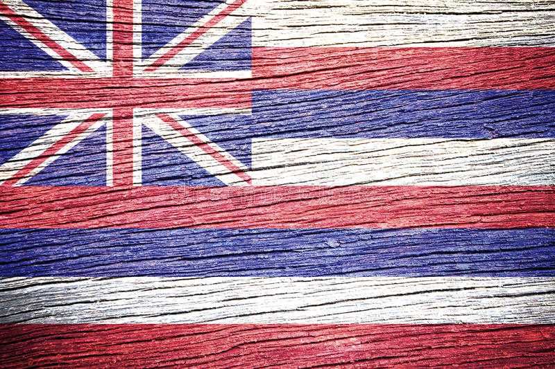 Hawaii Flag. Painted on old wood plank texture royalty free stock photos