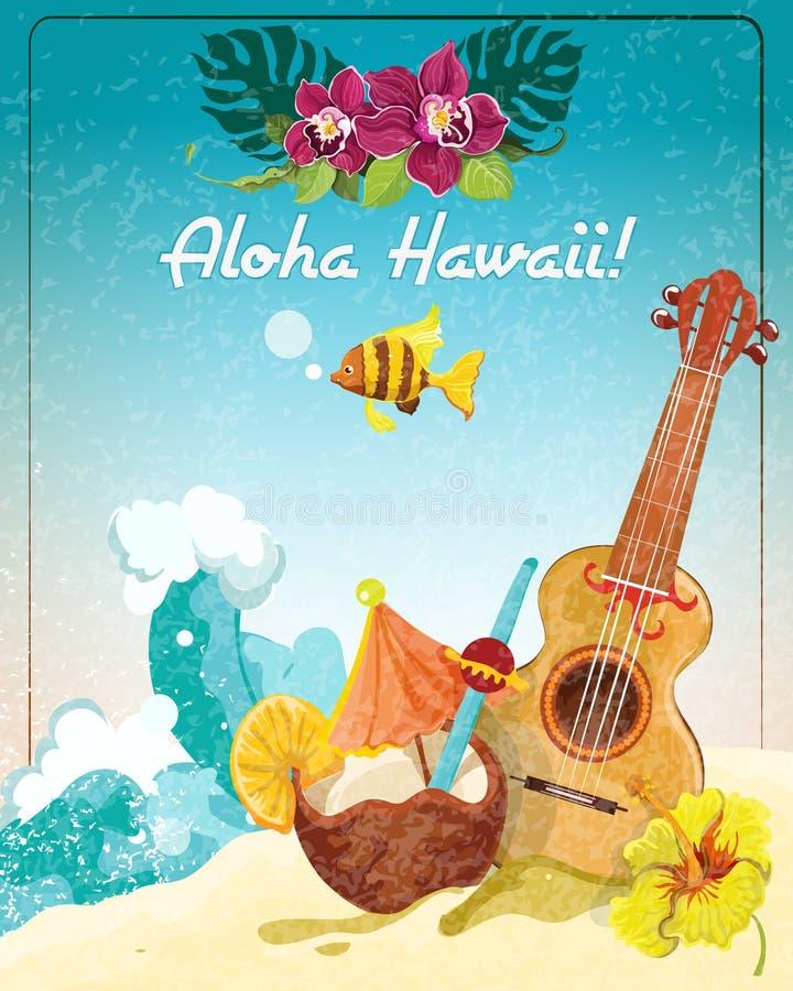Hawaii Guitar Vacation Poster Stock Vector