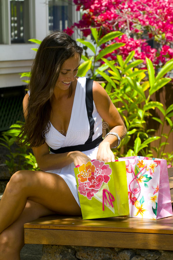 Hawaii happy shopper royalty free stock photos