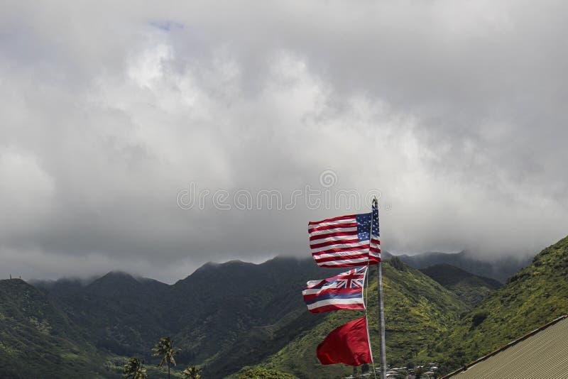 Hawaii Honolulu American flag stock photo