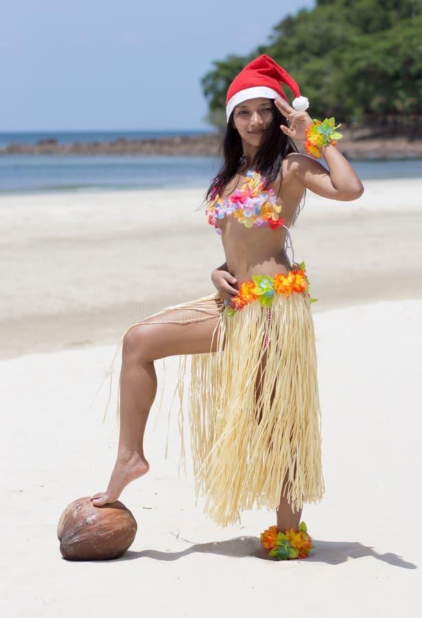 Hawaii hula dancer. On beach stock image
