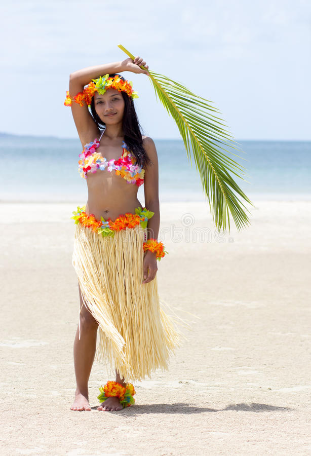 Hawaii Hula dancer. On beach royalty free stock image