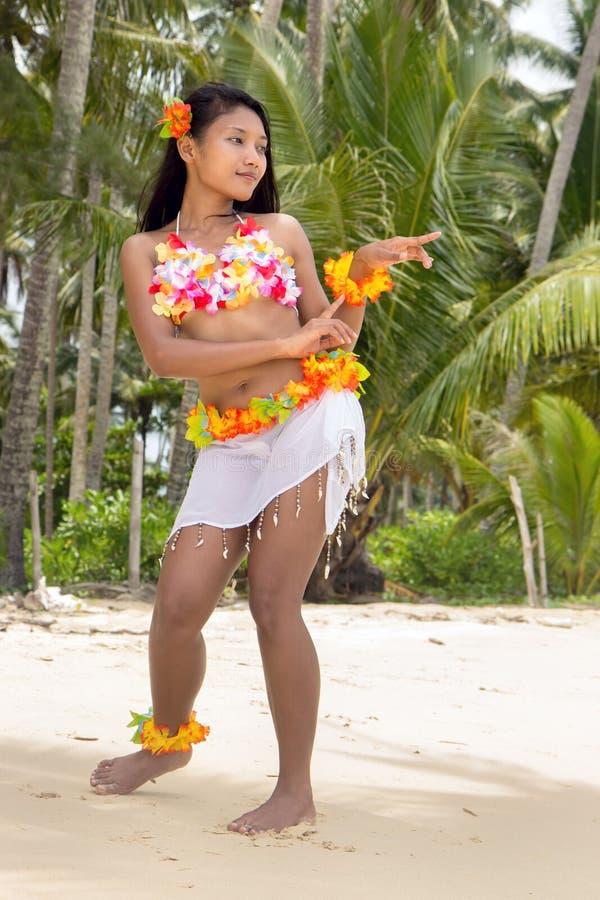 Hawaii Hula dancer on the beach. Hawaii Hula dancer dancing on the beach royalty free stock photography