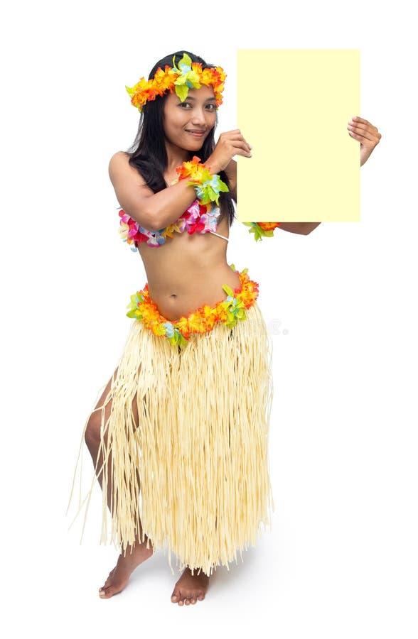 Hawaii hula dancer. Holding blank sign stock image