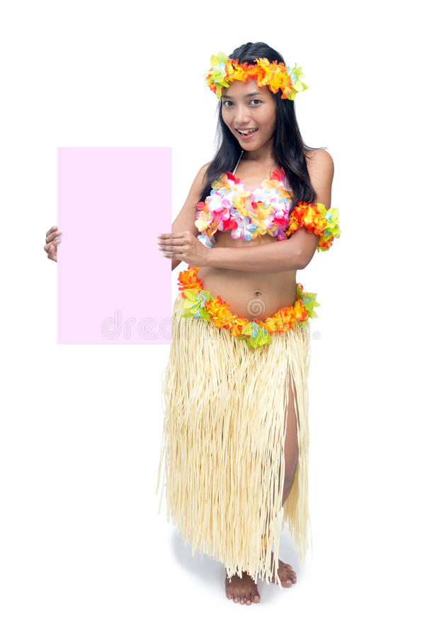 Hawaii hula dancer holding empty billboard. Isolated on white background royalty free stock images