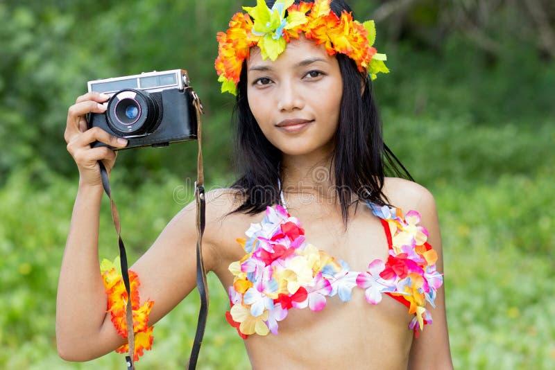 Hawaii hula dancer. Makes photo stock images