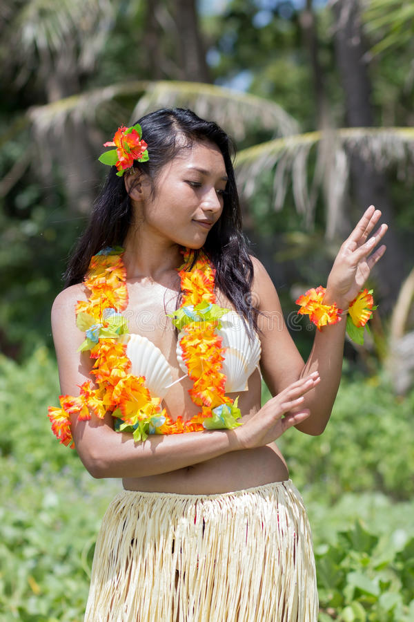 Hawaii hula dancer. In nature stock photo