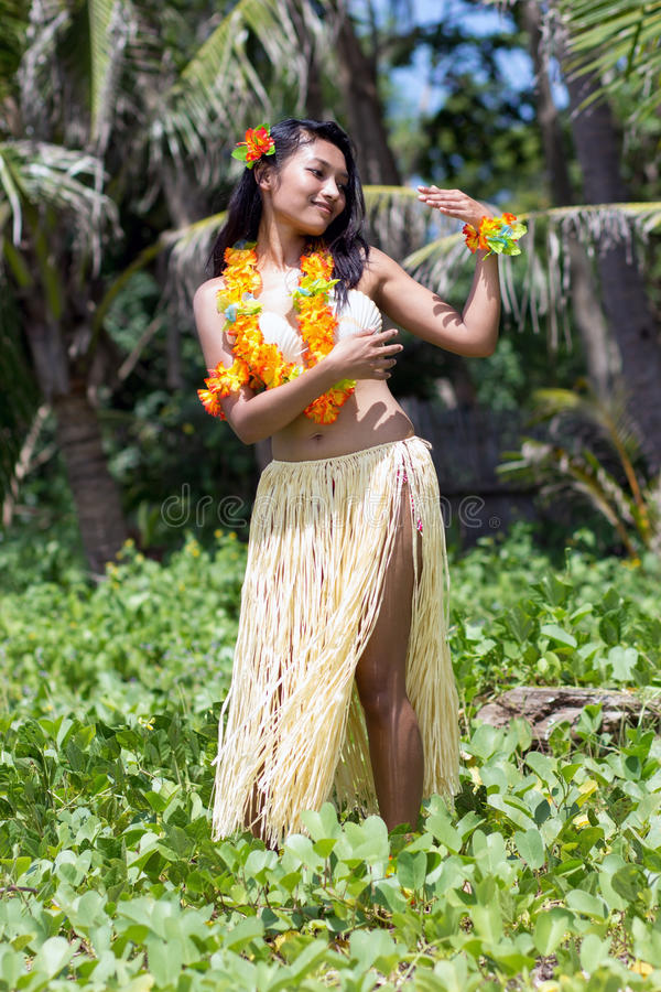 Hawaii hula dancer. In nature royalty free stock image