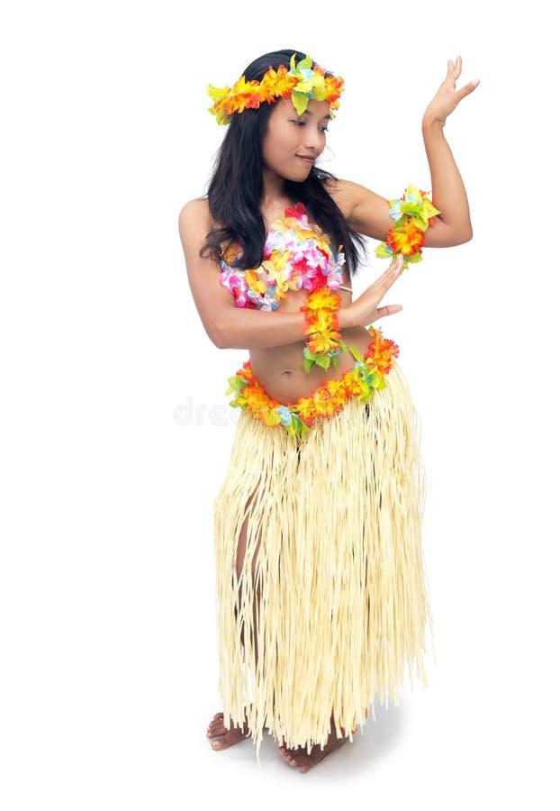 Hawaii hula dancer. On white background stock photos