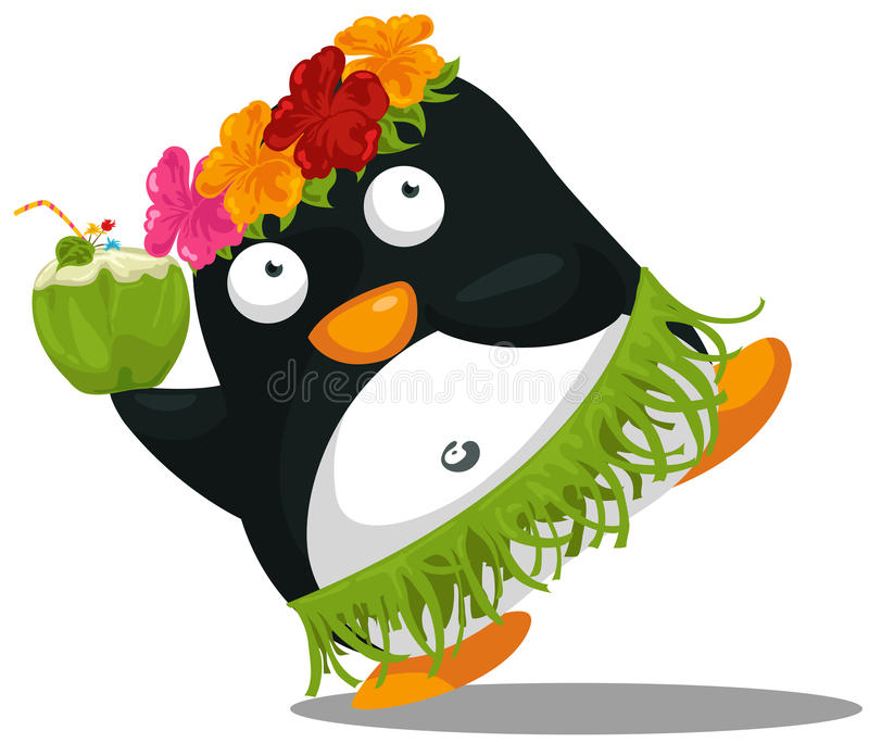 Hawaii hula penguin stock illustration