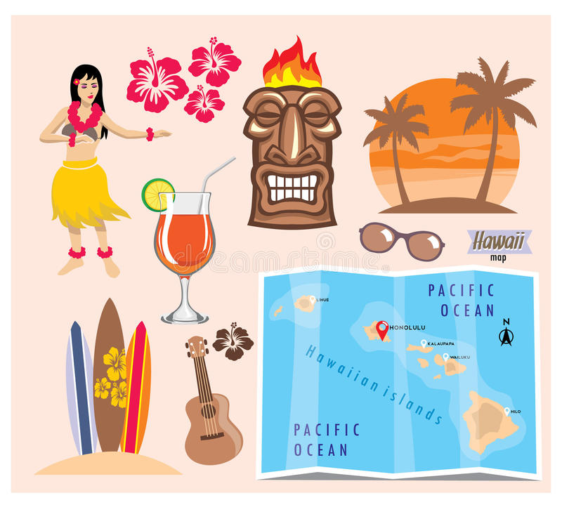 Download Hawaii icon set stock vector. Image of sand, guitar, coconut - 35934246
