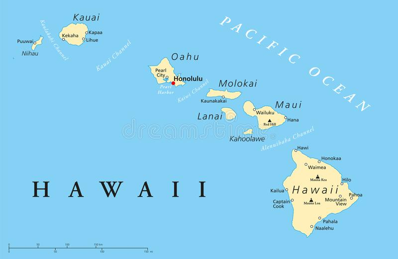 Hawaii Islands Political Map. With capital Honolulu, most important cities and volcanoes. Illustration with English labeling and scaling. Vector stock illustration