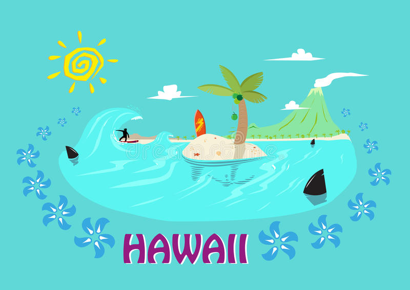 hawaii islands and surfing concept. editable clip art. stock