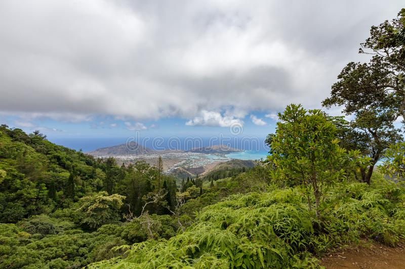 Hawaii Kai and Koko Crater, Oahu, Hawaii. Viewed over lush green tree tops on mountain peaks from the Kiliouou Trail royalty free stock photography