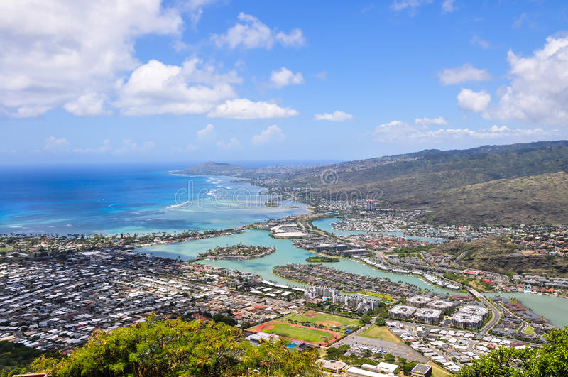 Hawaii Kai seen from Koko Head - Honolulu, Oahu, Hawaii. View of Hawaii Kai, a largely residential area located in the City & County of Honolulu, seen from the royalty free stock image