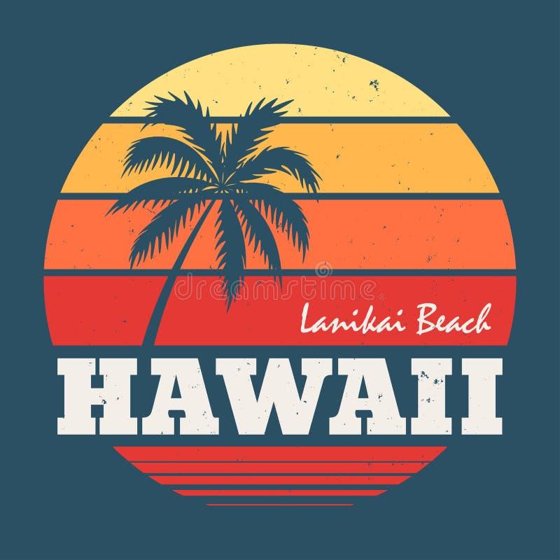 Hawaii Lanikai beach tee print with palm tree royalty free illustration