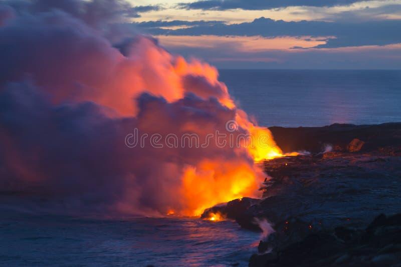 Hawaii Lava Molten Volcano Beaches y océano foto de archivo libre de regalías