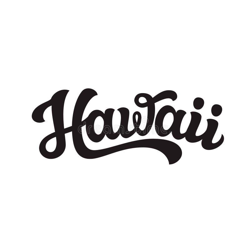hawaii Mano dibujada poniendo letras al texto ilustración del vector