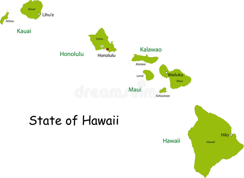 Hawaii map. Map of Hawaii state designed in illustration with the counties and the county seats