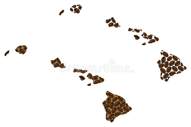 Hawaii - map of coffee bean. Hawaii United States of America - map of coffee bean, State of Hawaii map made of coffee beans stock illustration