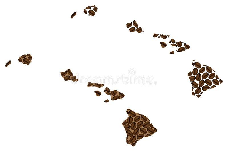 Hawaii - mapa del grano de café stock de ilustración