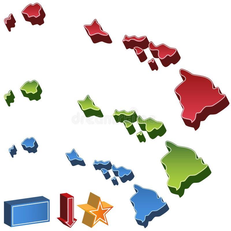 hawaii mapy stan ilustracja wektor