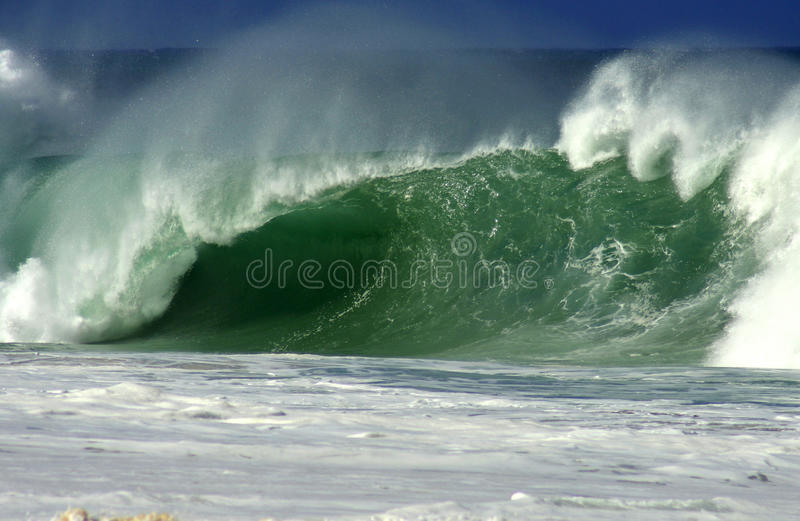 Hawaii North Shore Wave. Photograph of a crashing wave in the raging ocean conditions of the North Shore of Oahu, Hawaii stock photo